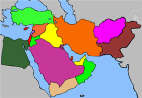 Middle east map interactive